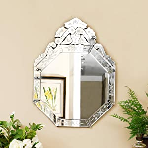 "KOHROS Wall Mounted Squared Mirror, Venetian Mirror Decor for The Living Room, Bathroom, Bedroom (W 23.5"" X H 31.5"" Round)"
