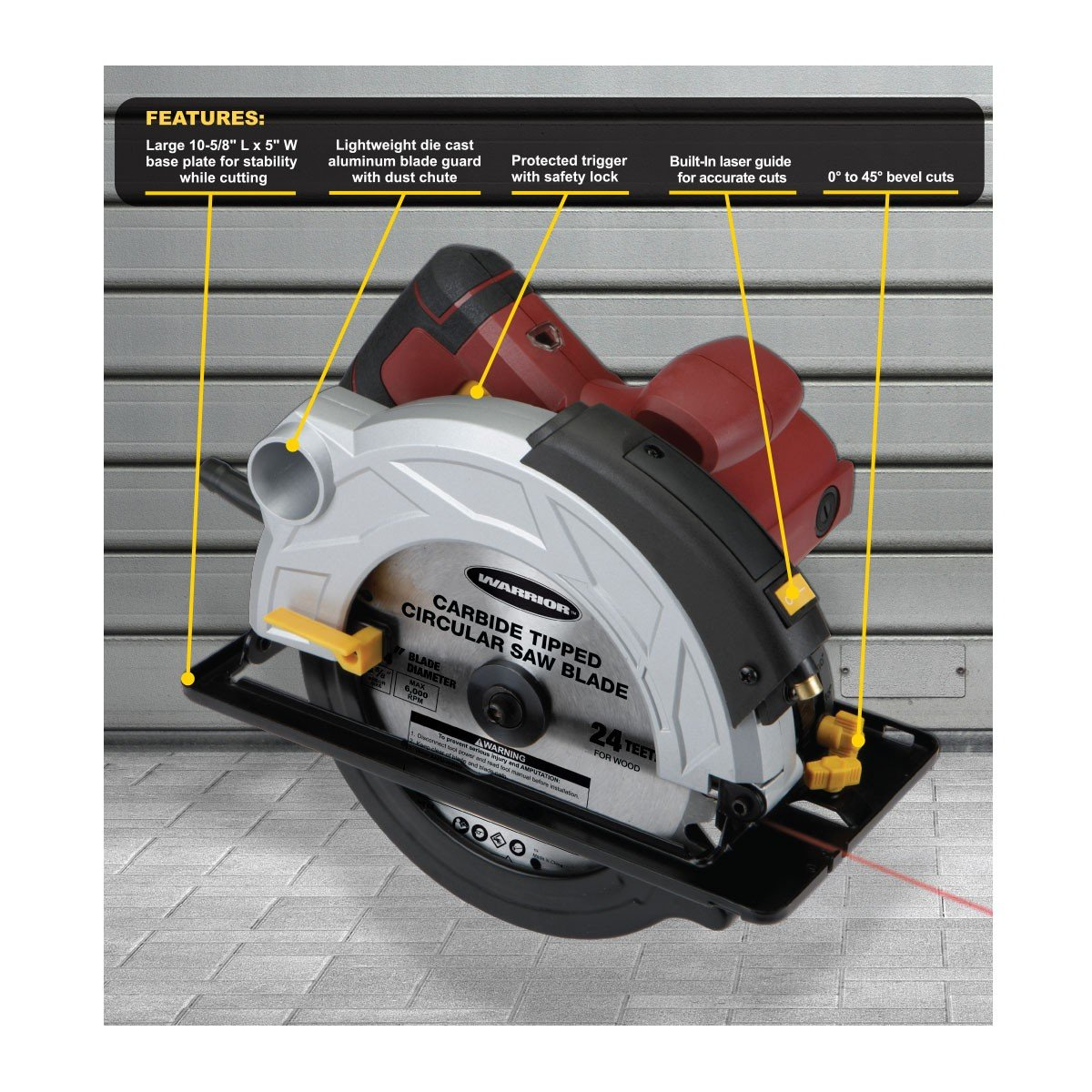 Chicago electric 7 14 circular saw with laser guide system chicago electric 7 14 circular saw with laser guide system amazon greentooth Gallery