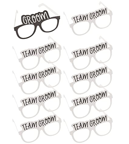 688a37309ef6 Bachelor Party Sunglasses - 10-Pack of Wedding Photo Booth Props with 1  Groom and