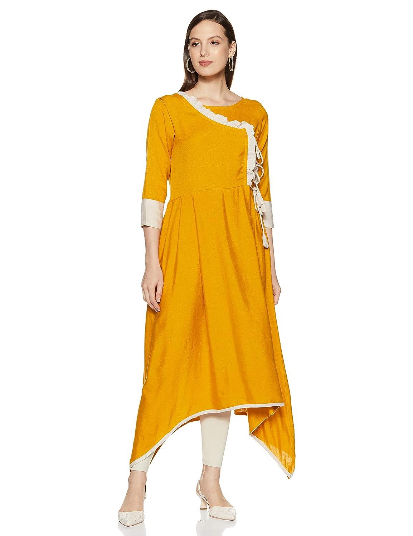Yellow Color Rayon Angrakha Kurta