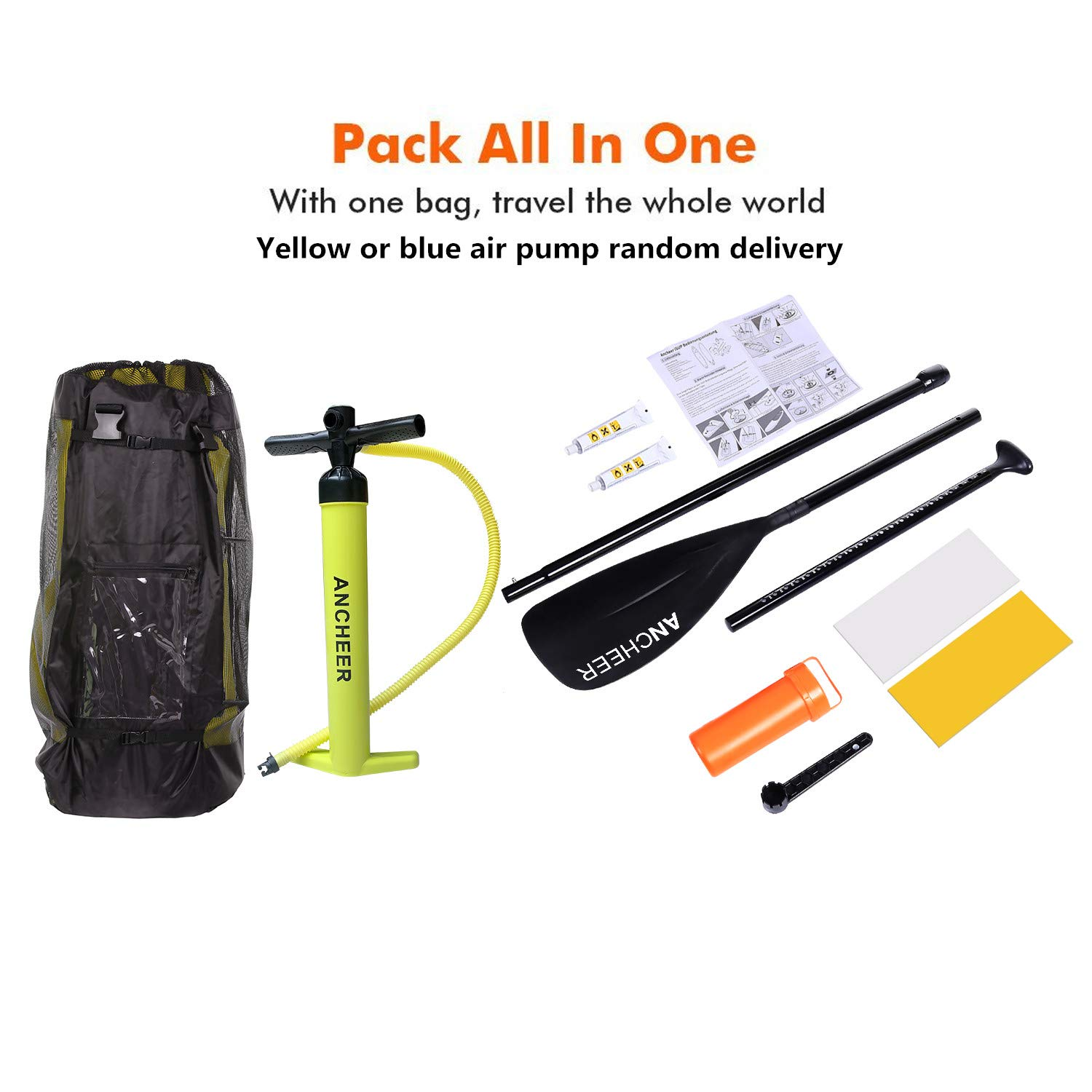 ANCHEER Inflatable Stand Up Paddle Board 10', Non-Slip Deck(6 Inches Thick), iSUP Boards Package w/Adjustable Paddle, Leash, Hand Pump and Backpack, Youth & Adult by ANCHEER (Image #6)