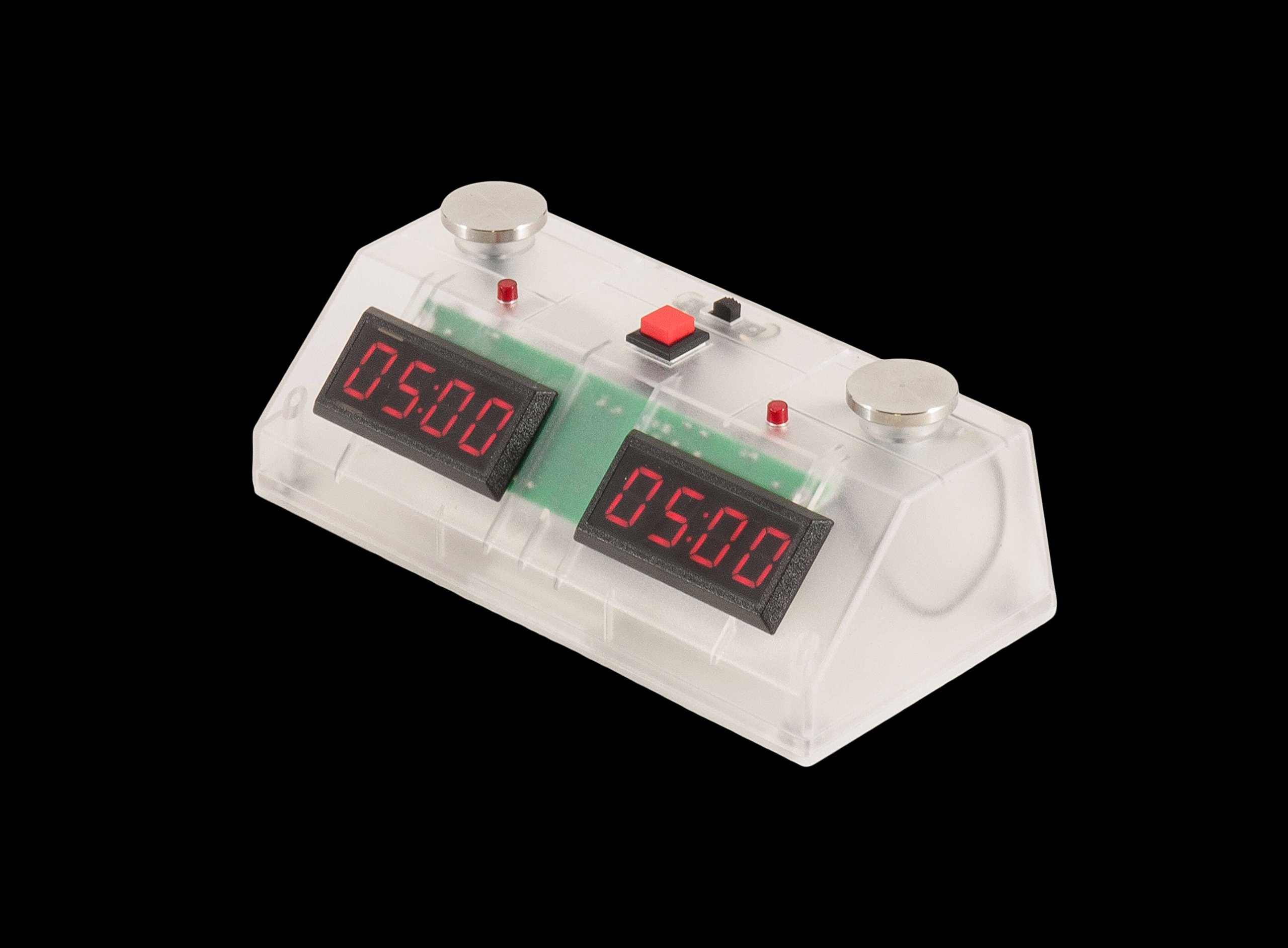 US Chess Federation ZMart Fun II Digital Chess Clock with clear Exterior - Red by US Chess Federation (Image #1)