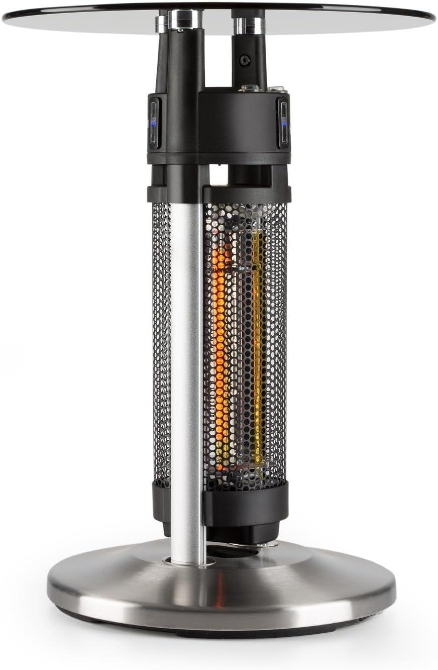 blumfeldt Primal Heat - Mesa de bistró con calefacción, Infrarrojos, Protección IP44, Tablero de Cristal, 3 sensores de aproximación, Iluminación LED, Exterior, Altura de 65 cm, 1200 W, Plateado