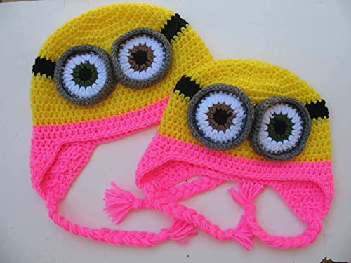 ear flap hat kids winter hat girl minion hat Halloween costume pink girl hat Pink minion crochet hat