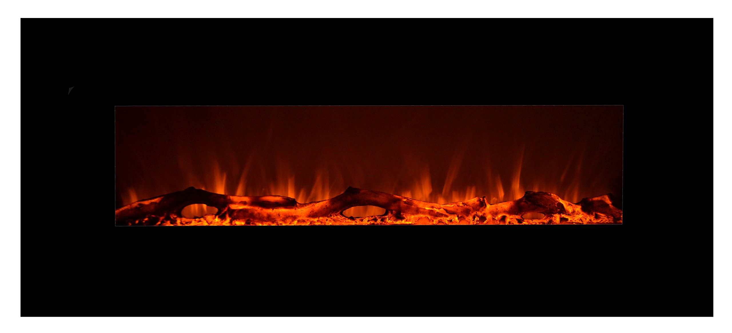 Touchstone 80001 - Onyx Electric Fireplace - (Black) - 50 Inch Wide - On-Wall Hanging - Log & Crystal Included - 5 Flame Settings - Realistic Flame - 1500/750W Timer & Remote by Touchstone