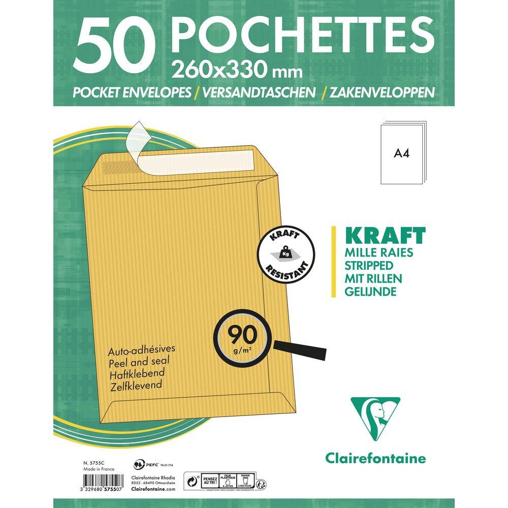 Clairefontaine 5750C Pochettes C4-229x324mm Kraft Mille Raies 90 g, bande auto-adhé sive, Paquet de 50 bande auto-adhésive