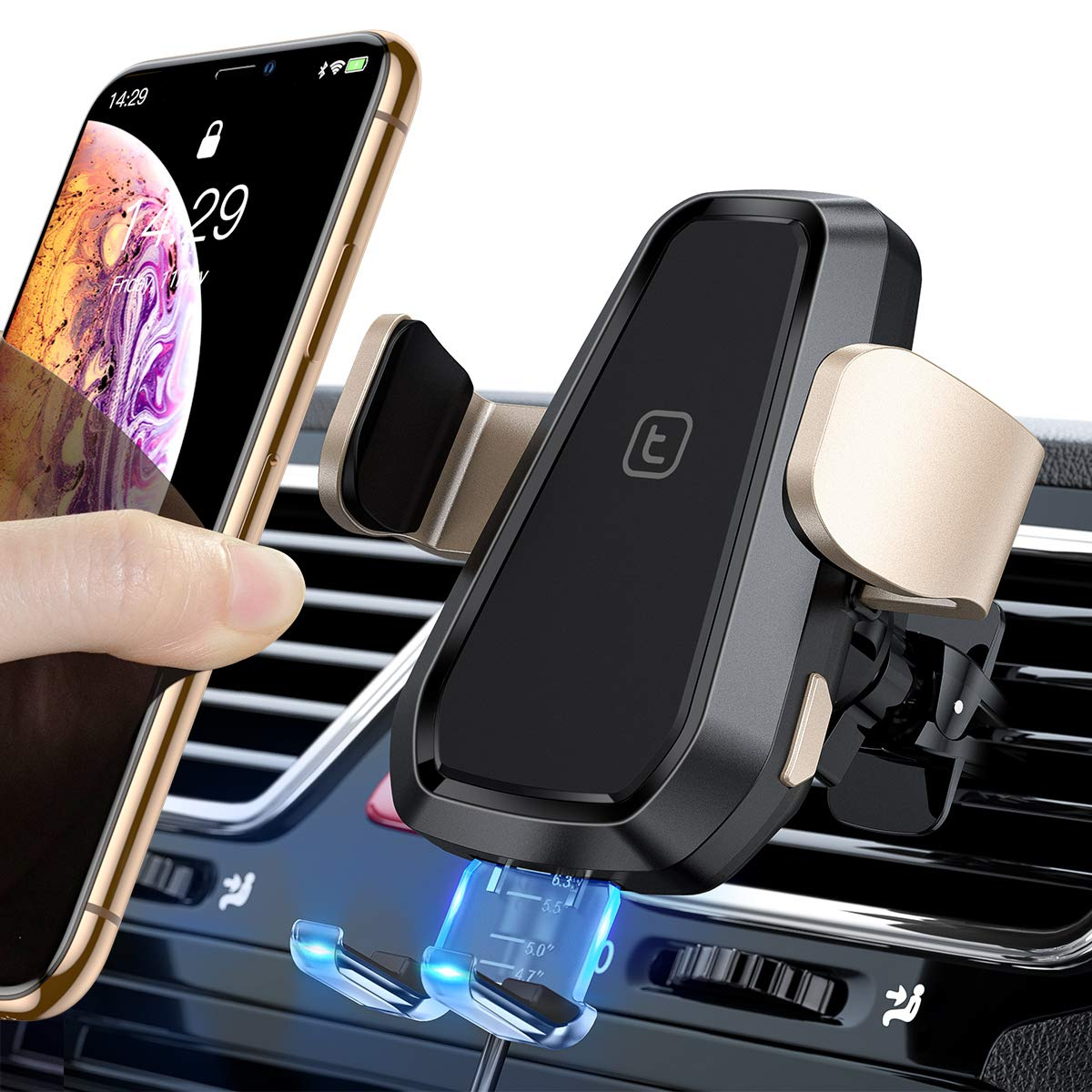 TORRAS Wireless Car Charger Mount, Auto Clamping Qi Fast Air Vent Phone Holder Compatible with iPhone 11/11 Pro/ 11 Pro Max/Xs Max/XR/Xs/8/8 Plus, Samsung Galaxy S10e/S10/S10 Plus/S9/S8+/Note10/10+ by TORRAS