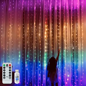 Rainbow Curtain Lights, 9.8ftx9.2ft 280 LED Curtain Lights, Curtain String Lights with USB Remote Control 8 Modes for Girls Room Decor, Kids Room, Bedroom,Unicorn Room Decor,Christmas,Party,Birthday