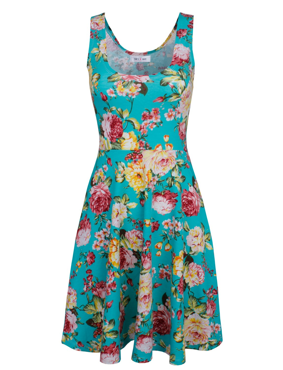Tom's Ware Womens Casual Fit and Flare Floral Sleeveless Dress TWCWD054-GREEN-US M