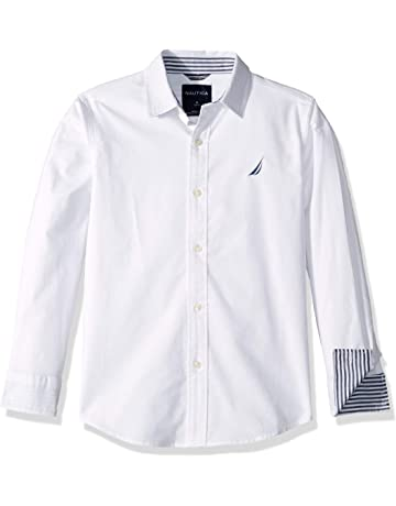 454437a7b9c5 Nautica Boys  Long Sleeve Solid Woven Shirt