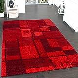 Velours Kurzflor Teppich - Winchester - Tepich Modern Karo Muster in Rot, Grösse:160x230 cm