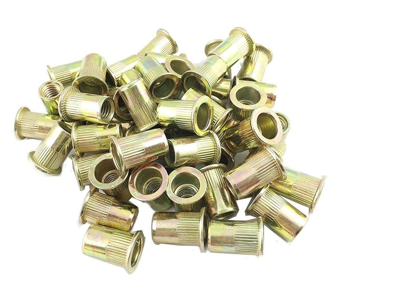 ZXHAO Zinc Plated Carbon Steel Rivet Nut Flat Head Threaded Insert Nutsert 1//2 Thread 20Pcs