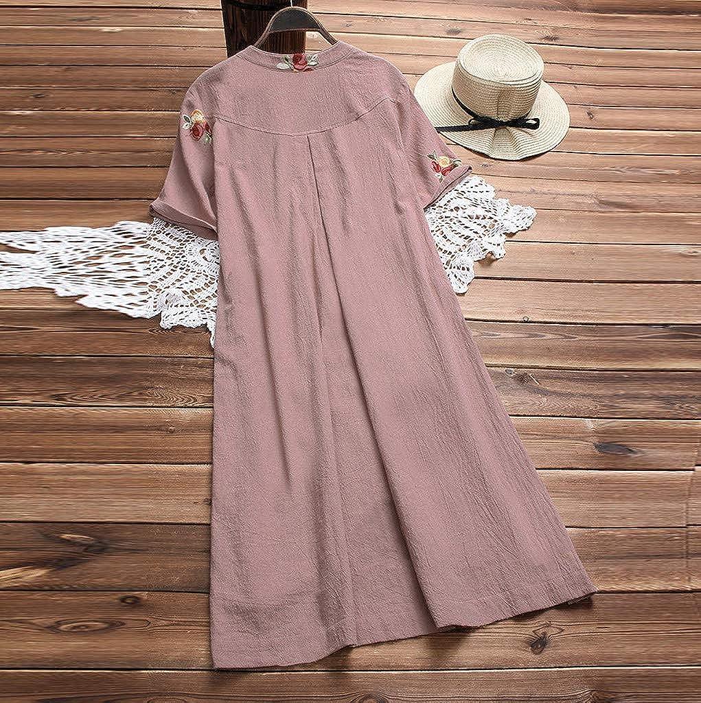 YFancy Women Girl Casual Irregular Floral Embroidered Pockets Button Short Sleeve Vintage Dresses Shirt Dress Knee Length