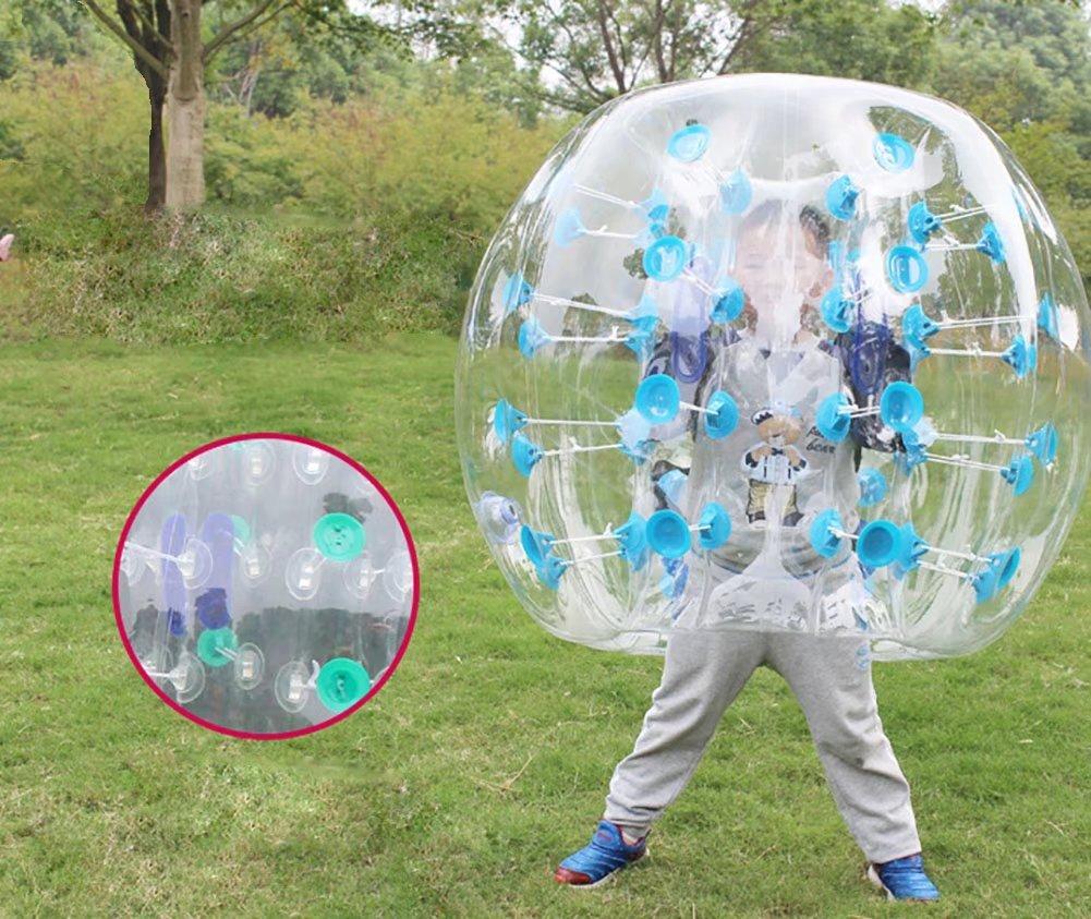 Joyu 0.8 MM PVCインフレータブルバンパーバブルZorb Ball 3 ft/4ft/5ft Human KnockerバブルサッカーアウトドアPlaygroundボール大人用と子供用の B07CY5MZHQ Transparent-Blue Dot D=3.3ft(1m)