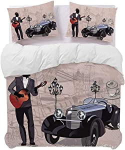 Musician Decor 3-Piece Duvet Cover, Retro Cars Musicians Old Town and Street Cafes Series of Vintage Backgrounds Art Print Comforter Cover Decorative Twin Size, 69