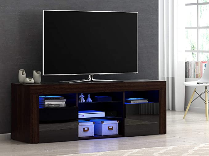 Mueble Moderno para TV, aparador de Alto Brillo con luz LED RGB, Muebles de salón de 4 Colores marrón: Amazon.es: Electrónica