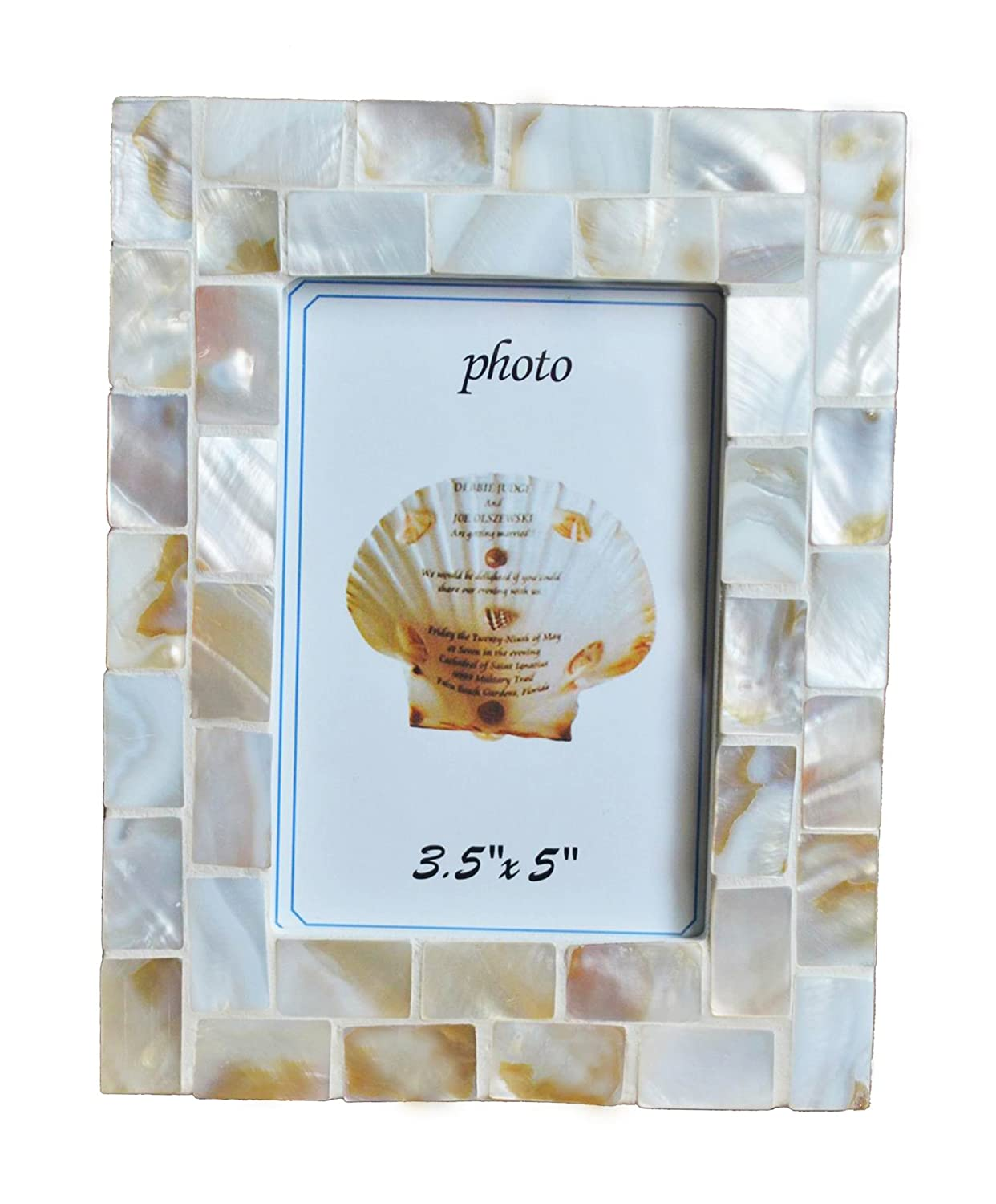GIFTME 5 Mother of Pearl Mosaic Photo Frame 3.5by5 Beach Tabletop Picture Frame 3.5x5, White