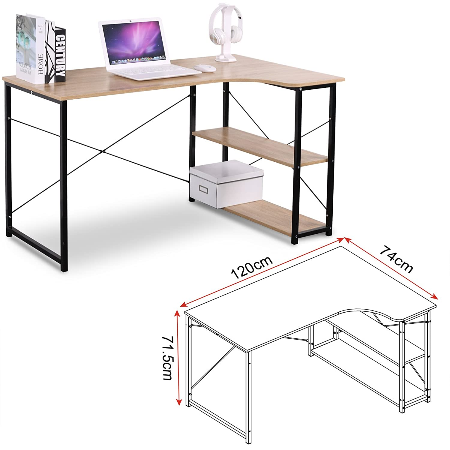 EUGAD L Shape Computer Desk Corner Workstation Desk with 3 Shelves