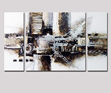Noah Art Black And White Abstract Art, 100% Hand Painted Abstract Oil  Paintings Part 79