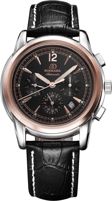 BINKADA 6ポインタ自動機械ブラックダイヤルメンズ腕時計# 706204 – 4 B01DZL0A9G