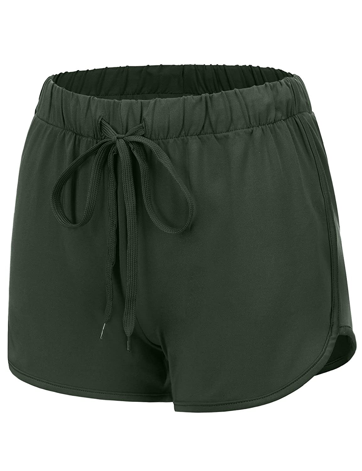 17401_olive Regna X Women's Summer Dolphin Running Shorts (Solid & color Block)