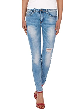 c5adc0b81b35 Fraternel Damen Jeans Hose normal Waist Slim fit Destroyed  Amazon.de   Bekleidung