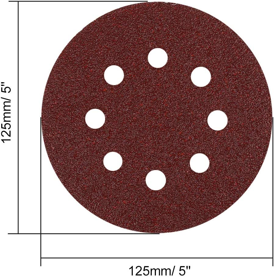 uxcell 30 Pcs 5 Inch 8 Hole Hook and Loop Sanding Discs 60 80 100 120 240 Assorted Grits Sandpaper
