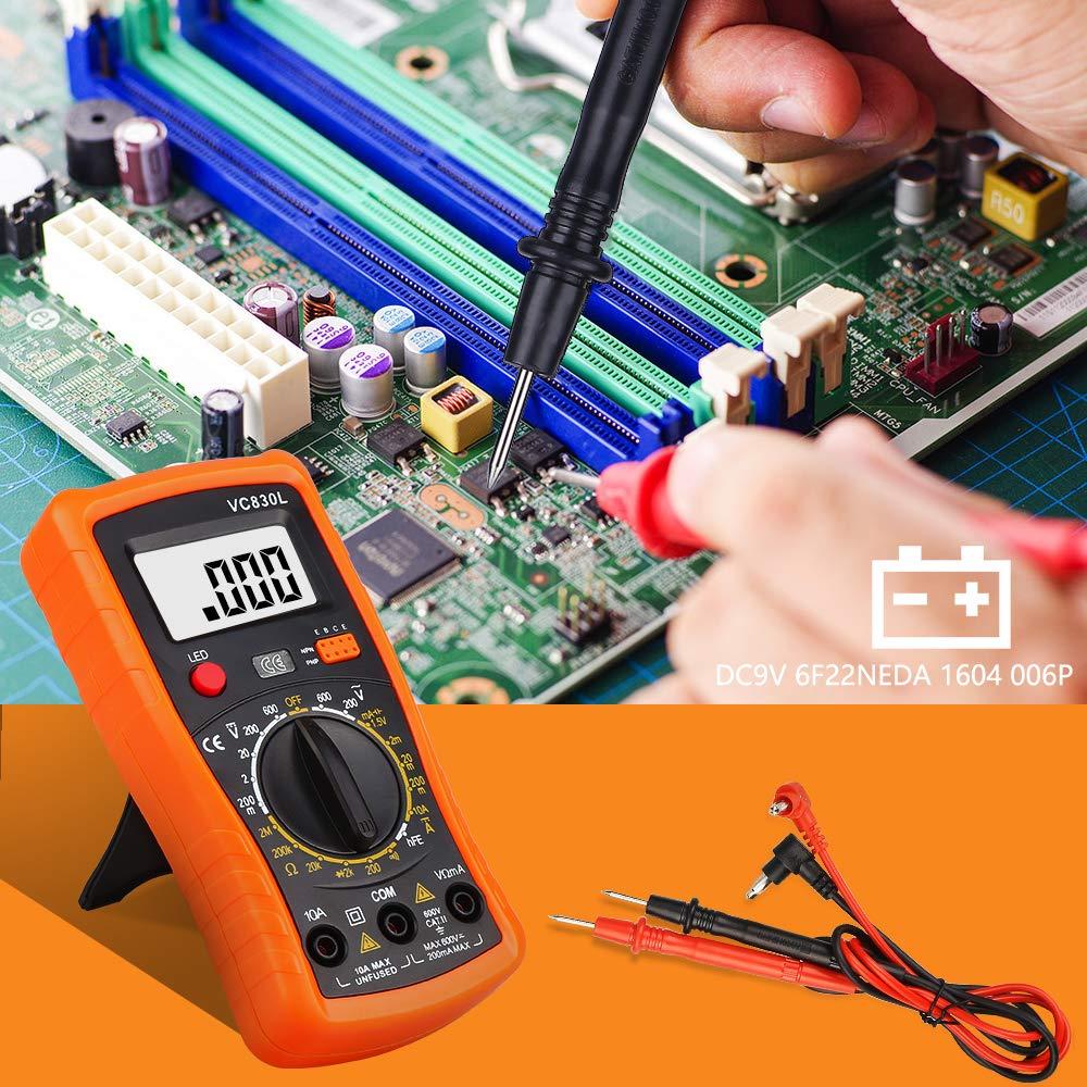Strom Transistoren Widerstand,Multimeter f/ür Schule Labor Factory usw Digital Multimeter,Multimeter Voltmeter AC//DC Multi Tester,Digital Multimeter Messger/ät mit LCD-Display Testet Dioden