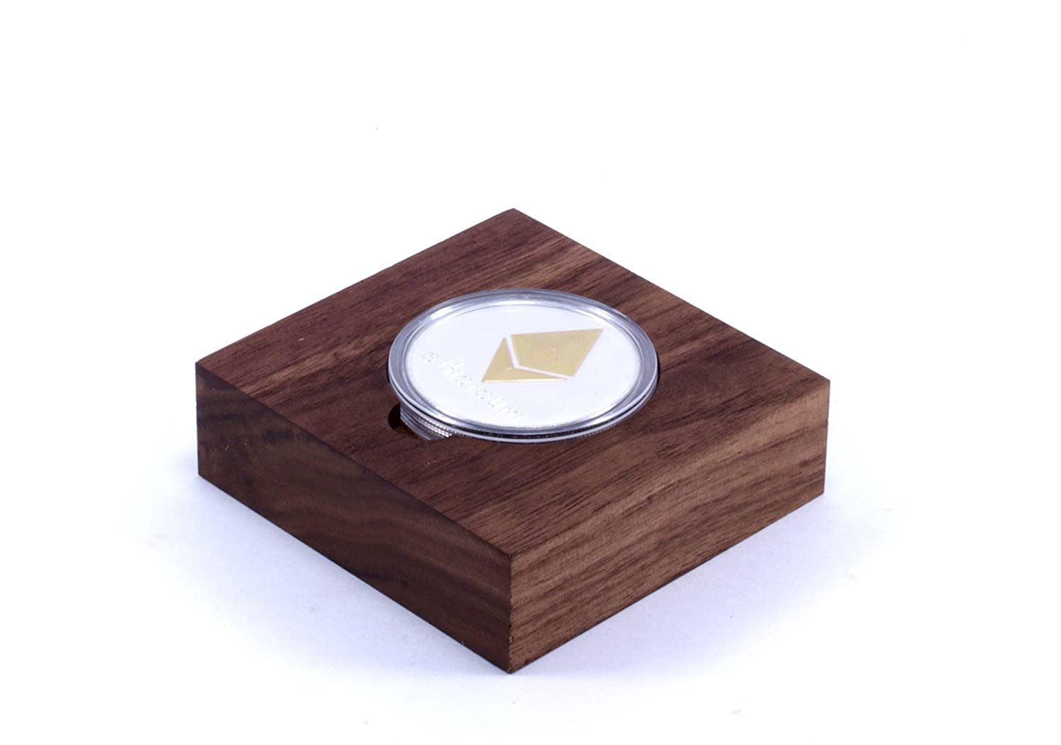 Ethereum Coin with Walnut Display