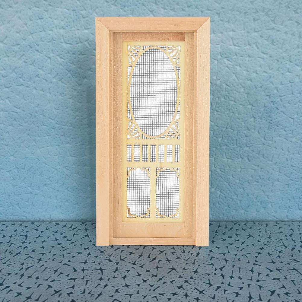 Doll Door 1:12 Dollhouse Miniature Vintage Wood External Hollow Screen Single Door Dollhouse DIY Decoration Accessories