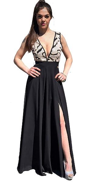 the best attitude ccace b7893 Tuwe Abito Donna da Cerimonia Vestito Elegante Lungo Nero ...