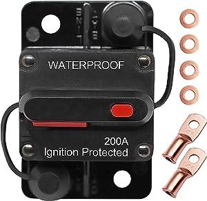 Erayco 200 Amp Circuit Breaker with Manual Reset for Car Marine Trolling Motors Boat ATV Manual Power Protect for Audio System Fuse, 12V-48VDC, Waterproof (200A)