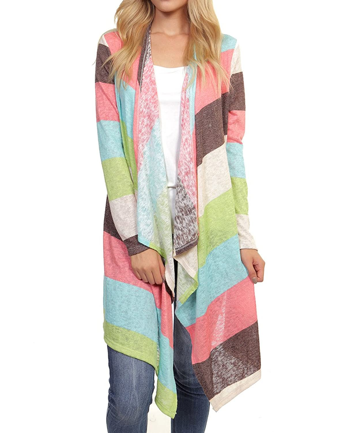 Sassy Apparel Women's Long Sleeve Multi Color Fashion Cardigan Sweater