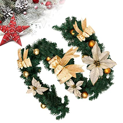 Cherry Juilt 6 Feet Christmas Garland Decorations Artificial Wreath With Berries And Pinecones Indoors Outdoor Xmas Decorations For Wall Door Stair