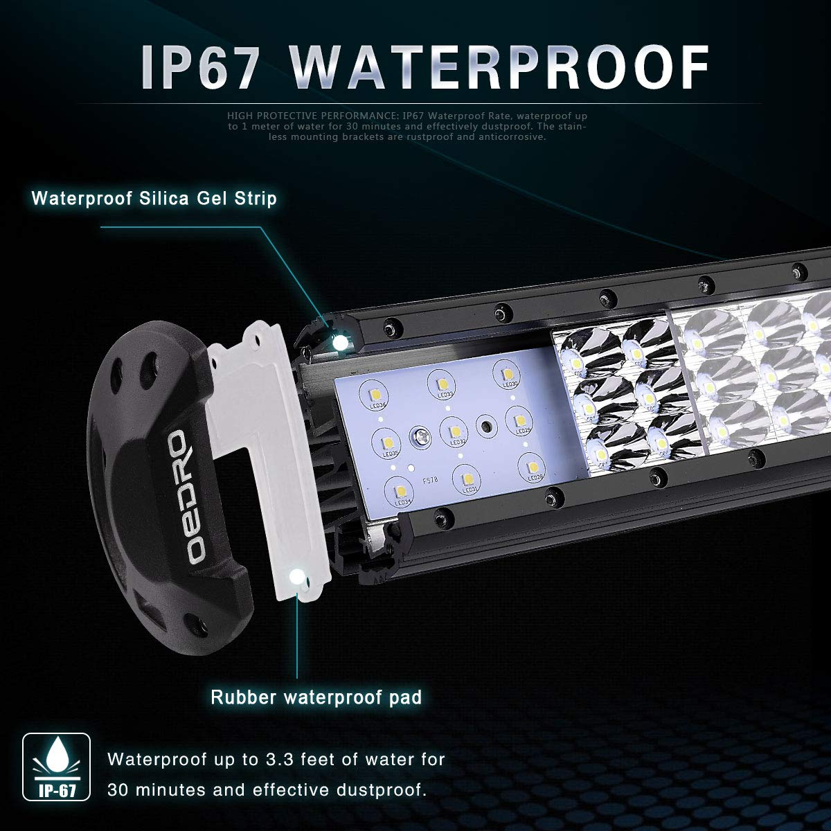LED Light Bar Wiring Harness OEDRO 189W 20Inch Tri-Rows LED Light Pod Spot Flood Combo Light Off Road Lights Led Fog Light Truck Light Boat Lighting for Truck Pickup Jeep SUV ATV UTV,3 Years Warranty BO05-F03-x1l