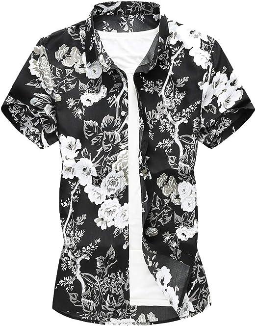 Camisa hawaiana para hombre con diseño de hojas de flores, playa ...