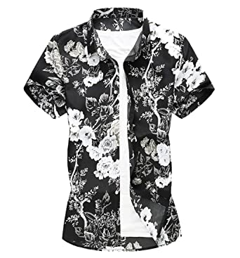 25a8c6ac Gibobby Hawaiian Boys Casual Summer Printed Graphic Shirts Button Down  Shirs for Men Short Sleeve T