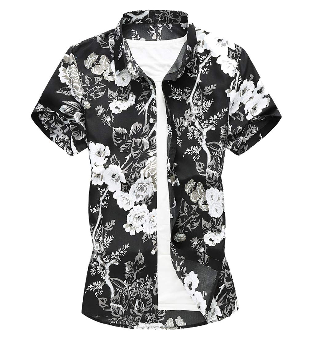 Gibobby Hawaiian Boys Casual Summer Printed Graphic Shirts Button Down Shirs for Men Short Sleeve T-Shirt Tops for Holiday Black
