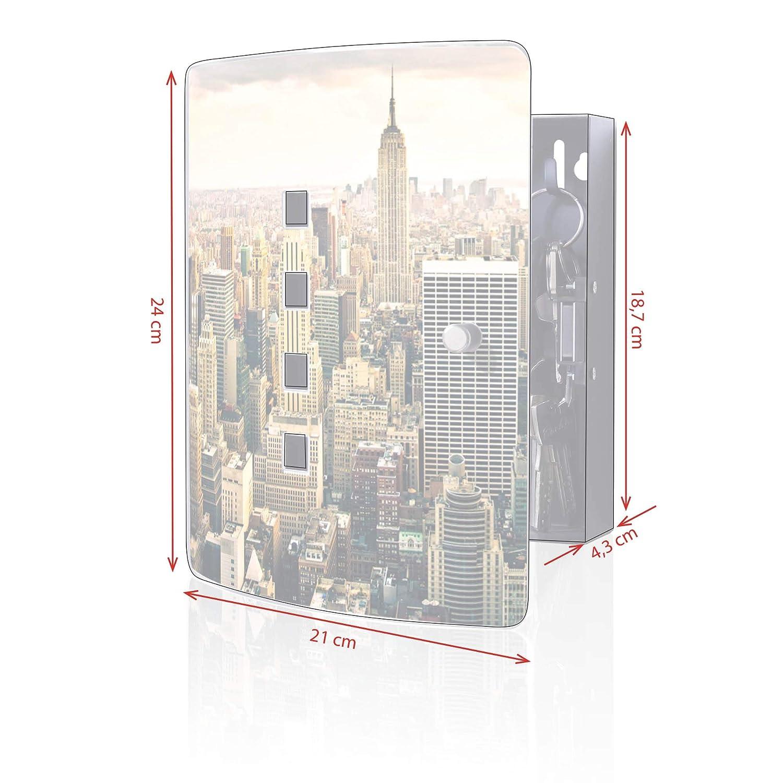 24x21,5cm Motiv New York City 10 Haken f/ür Schl/üssel banjado Design Schl/üsselkasten aus Edelstahl praktischer Magnetverschluss