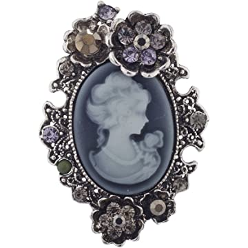 0b79e36cb Lux Accessories Antique Vintage Cameo Brooch Burnished Metal Pave Stones