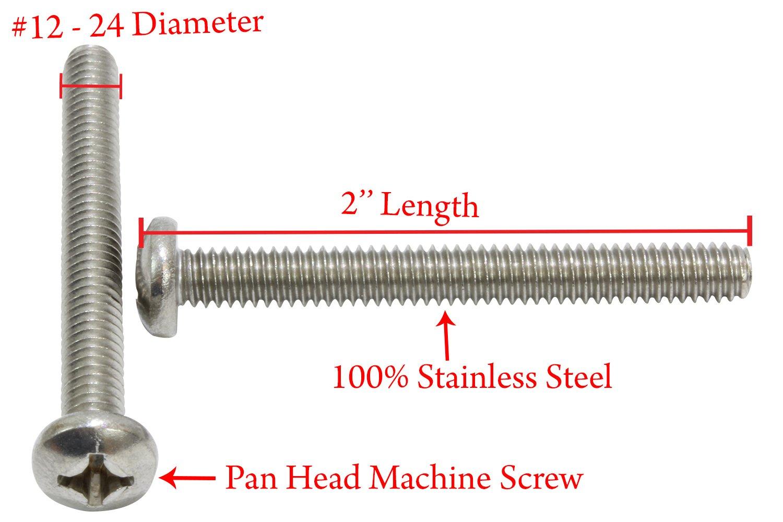 """12-24 x 1//2/"""" Phillips Round Head Machine Screws Stainless Steel 18-8 Qty 100"""