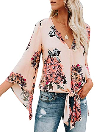 ea7e3d4ed969 LOSRLY Women Floral Print Casual V-Neck 3/4 Sleeve Loose Flowing Chiffon  Tops