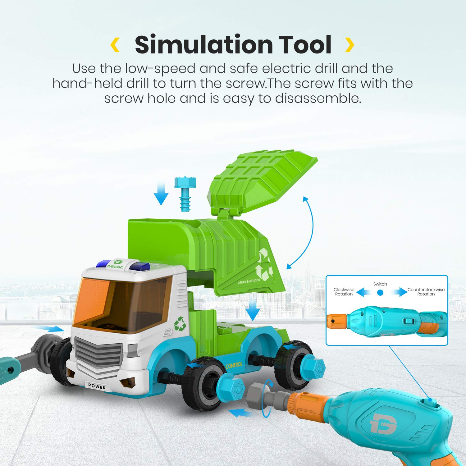 DEERC Remote Control Cars Take Apart Toys for Kids with 2.4GHz - Construction Toy STEM Build Your Own Dump Truck with Electric Drill, Music & Lights - Assembly Car Toys Gifts for Boys and Girls