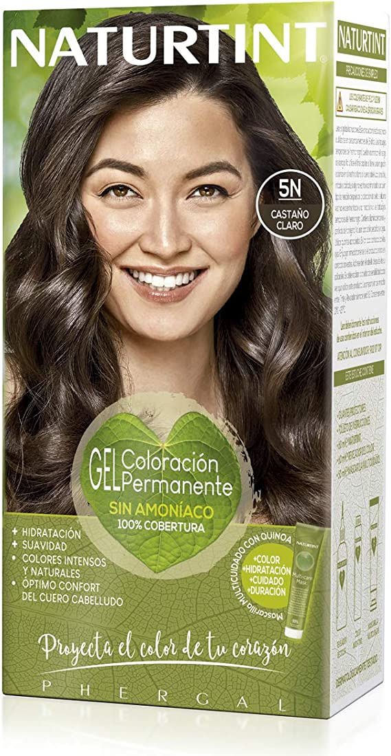 Naturtint | Coloración sin amoniaco | 100% cobertura de canas | Ingredientes vegetales | Color natural y duradero | 5N Castaño Claro | 170ml