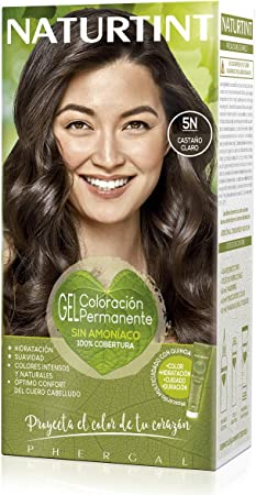 Naturtint   Coloración sin amoniaco   100% cobertura de canas   Ingredientes vegetales   Color natural y duradero   5N Castaño Claro   170ml