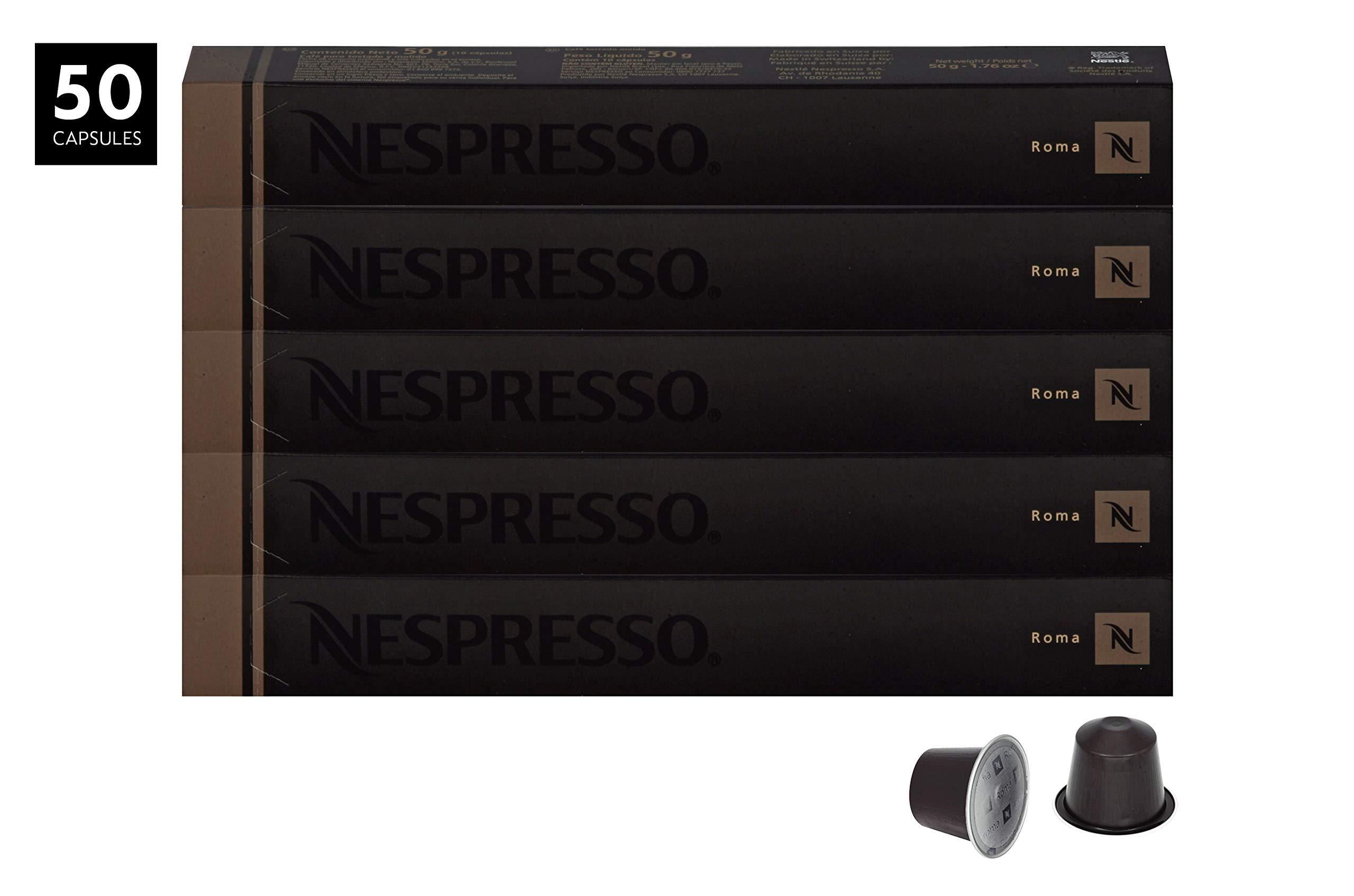 Nespresso OriginalLine Roma Capsules, 50 Count Espresso Pods, Light Roast Intensity 8 Blend, Central & South American Arabica with Robusta Coffee Flavors by Nespresso