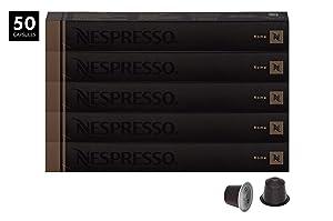 Nespresso OriginalLine Roma Capsules, 50 Count Espresso Pods, Light Roast Intensity 8 Blend, Central & South American Arabica with Robusta Coffee Flavors