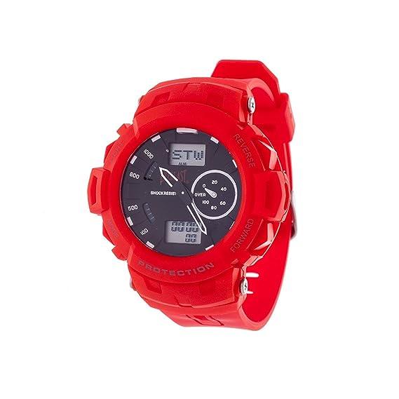 Everlast deporte hombres analógico Digital redondo reloj con rojo correa de caucho: Everlast: Amazon.es: Relojes