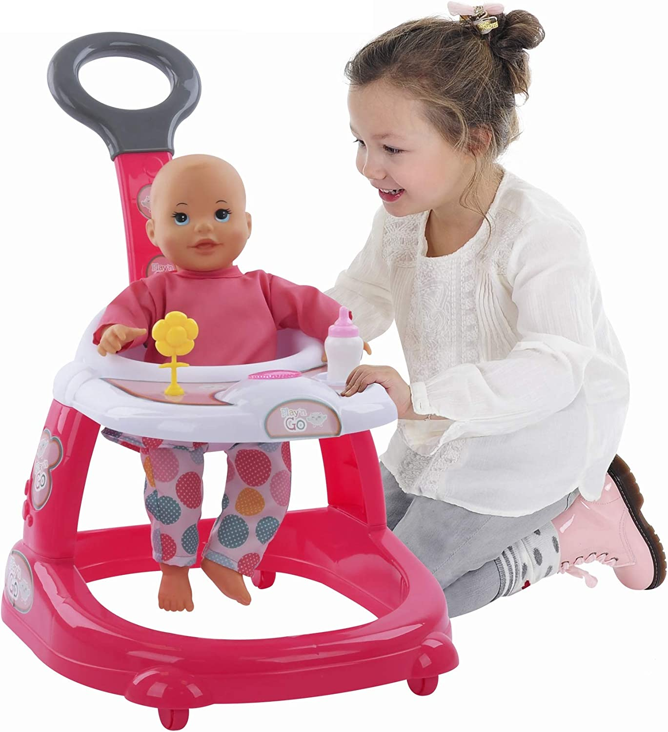 Hauck 14 inch Baby Doll and Mobile Walker with Lights and Sound Plus Baby Bottle