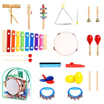 5e884eb1907 Ohuhu 20 piezas de instrumentos musicales para niños, juguetes musicales  para niños, juego de